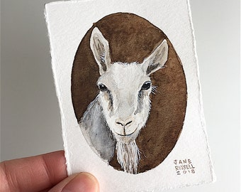 Billy Goat Tiny Original Watercolor Painting Free Shipping