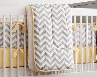 Gender Neutral Baby Crib Bedding / Boy Baby Bedding / Girl Crib Bedding: Gray and Yellow Zig Zag Crib Comforter by Carousel Designs
