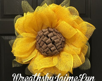 Sunflower Wreath, Fall Wreath, Fall decor, Flower Wreath, Yellow Flower Wreath, Front door Wreath, Summer wreath, front door decor