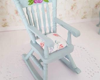 Dollhouse Rocker,Miniature Rocker,Doll house Rocking Chair,Dollhouse Furniture,Dollhouse Miniatures,Miniature Shabby Chic,12th Scale Cottage