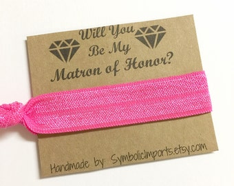 Matron of Honor Gift - Hair Tie - Will you be my Matron of Honor Gift - Hair Tie Favor - Matron of Honor Proposal - Hair Tie Gift