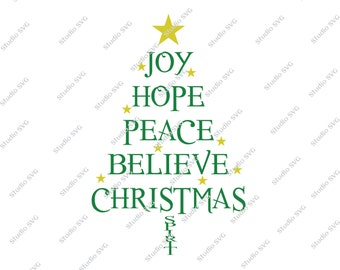 Joy, Hope, Peace, Believe, Christmas, Digital Cut File, Vinyl Cutting File, SVG, DXF, EPS, Silhouette, Studio, Studio 3, Red, Green, Cricut