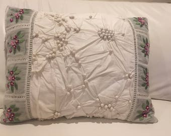 Cotton embroidered decorative pillow