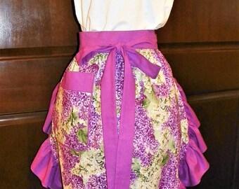 Beautiful, Fun, Flirty, Sassy Hostess Waist Apron 26 Inch Lilacs by Nanasaprons Handmade for Fun Cooking Baking Activities