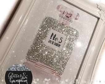White Frame Shabby Chic Glitter Diamonte inspired perfume bottle