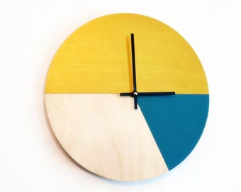 Wood Wall Clocks,  Gold and Blue Home Decor,  Home and Living, Decor and Housewares