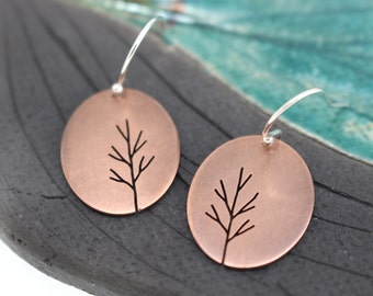 Sapling Tree Art copper hand pierced oval earrings