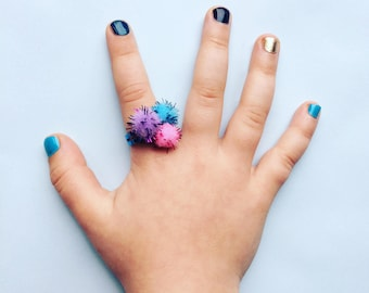 Blue Glitter Ring - Pom Pom Ring - Blue, Pink, Purple Ring - Party Bag Ring - Adjustable Ring - Girls Ring - Pom Pom Jewellery