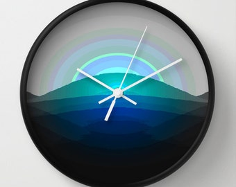 Clock, Black Blue Gray Clock, Black & Blue Clock, Blue Clock,  Turquoise Gray Black Clock, Black Blue Home Decor, Kitchen Clock