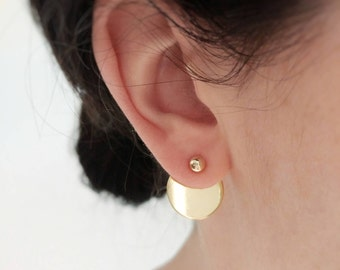 Gold ear jacket, disc ear jacket, Gold jacket earrings, disc jacket, Gold dot stud, disc earring, cercle ear jacket, cercle disc jacket.