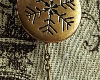 Portuguese Knitting Pin, Large Brass Snowflake