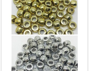 200pcs 6x9mm Silver/Gold Metallic Shiny Pony Beads Craft Plastic Bead For Hair Jewelry Rubber Bands Bracelet Loom Dummy Beading