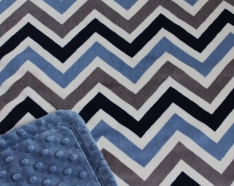 Minky Blanket Navy, Denim and White Chevron Print Minky with Denim Dimple Dot Minky Backing - Perfect Size for a Baby or Toddler