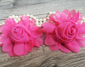 """2pcs Hot Pink 3"""" Chiffon Flowers - Soft Chiffon Layered Fabric Flowers- Embellished Flowers - Pearl Center Fabric Flowers - Hair accessories"""