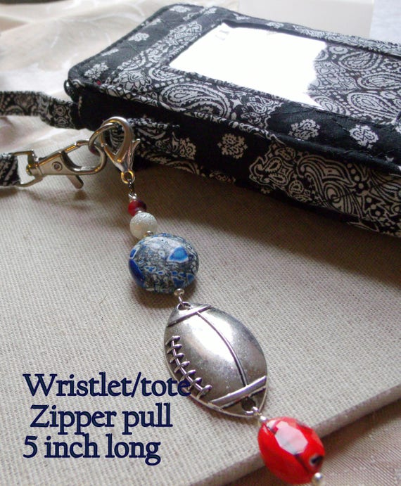 Football zipper pull - sports team accessory - red blue white patriotic colors - super bowl gift - team support - large football charm