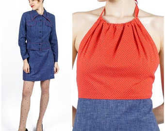 Vintage 1970s Two Piece Chambray & Red Polka Dot Jacket and Halter Top Mini Dress Set by Young Innocent by Arpeja | XS/Small