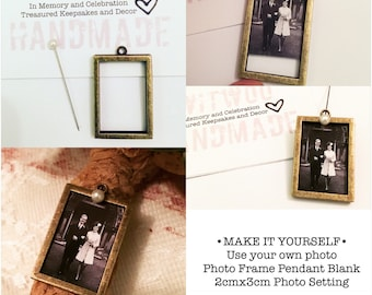 18x28mm Rectangle Photo Frame Pendant Tray|Make Your Own|Wedding Memory Charm|Bridal Bouquet Charm|Wedding Keepsake|Memorial Bouquet Charm