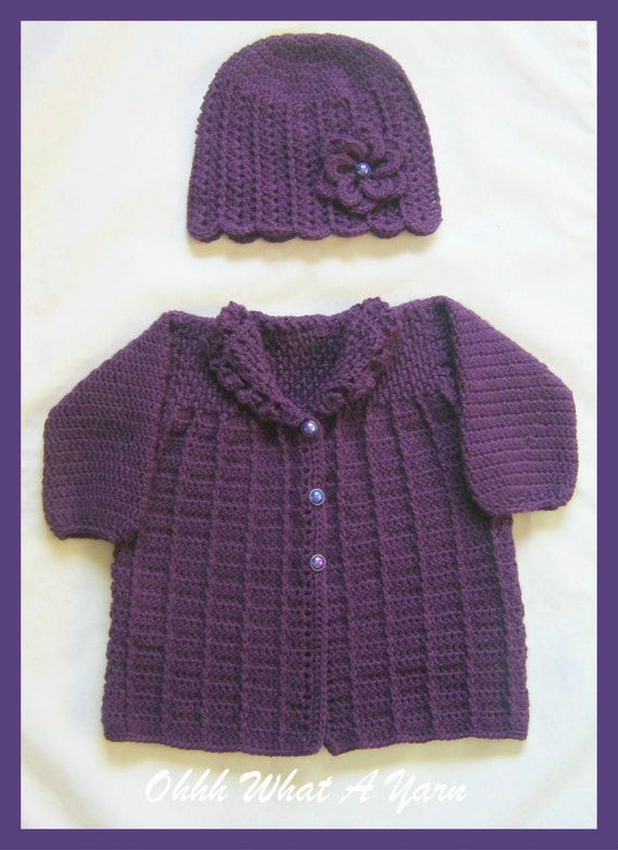 Häkeln Baby Mädchen lila Strickjacke Jacke Mantel mit