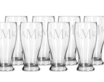 Set of 8 Etched Beer Glasses