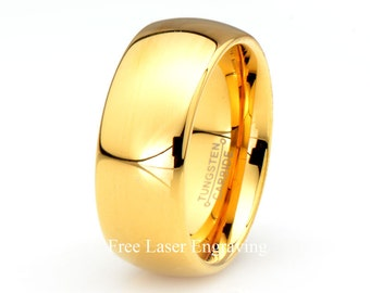 Yellow Gold Tungsten Wedding Ring,18k,9mm,Polished Domed, Mens Wedding Band,Custom Laser Engraving,Ring Size 5-15