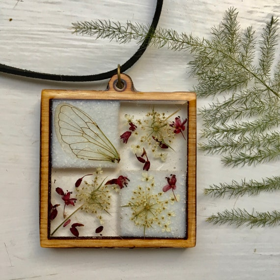 Cicada wing and Queen Anne's Lace wooden bezel necklace