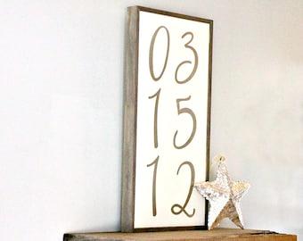 Framed Rustic Wedding Sign - Custom Date Sign - Wedding Date Sign - Save the Date - Wedding Decor - Anniversary Gift - Birth Date - Nursery