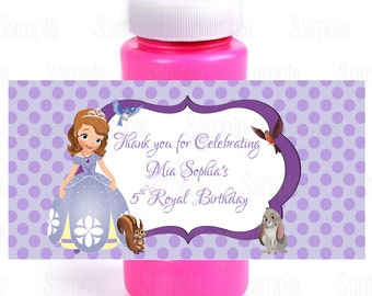 Printable Sofia The First Bubble Bottle Labels