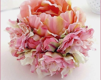 Wedding - fabric flowers bouquet, peonies, lace-shades pink, off-white, coral...-wedding-Wedding