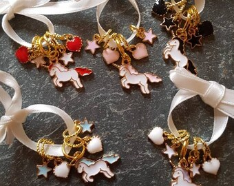 5 knitting stitch markers. For the love of unicorns