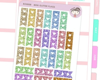 Rainbow Mini Glitter Checklist Flag Stickers / Planner Stickers