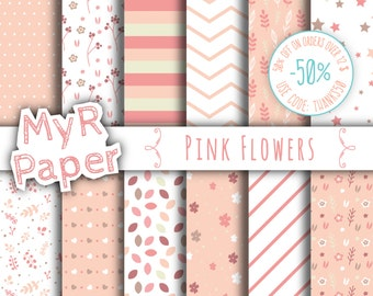 """Digital Paper: """"Pink Flowers"""" pack of backgrounds with flowers, leaves, stars and hearts"""