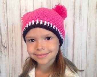 Pink Double Pom Pom Hat, Newborn to Womens hat, photography prop, winter hat, fall hat, crochet hat. Girls hat, winter accessories, pom pom