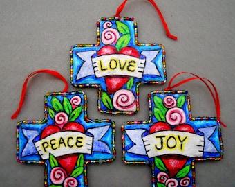 Heart Cross Trio, Original Heart Folk Art Ornaments, Love, Peace, & Joy with Roses, Paper Mache, Sacred Heart Art, Folk Art, Mixed Media