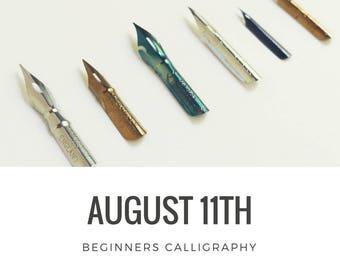 Calligraphy 101 Class, Beginner AUGUST 11 Hand Lettering Atlanta Area Workshop, In Person Beginner Calligraphy Class and Hand Lettering Kit