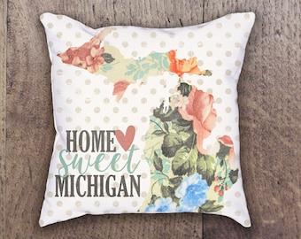 Home Sweet Michigan Pillow, State of Michigan Pillow, Michigan Pillow, Floral Michigan Pillow, State Pillow, State Floral Pillow