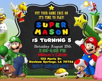 Super Mario Birthday Invitation (Digital File)