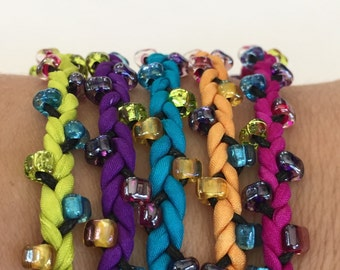 DIY Silk Wrap Bracelet or Silk Cord Kit DIY Bracelet DIY Craft Kit You Make Five Adult Friendship Bracelets in Neon Carnival Palette