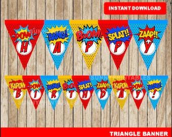 Superhero triangle banner; printable Super Hero banner, Superhero party banner instant download
