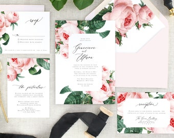 Pink Floral Wedding Invitations Printed - Modern Botanical Wedding Invitation Suite - Elegant Wedding Invitation Pink Floral - Set of 10