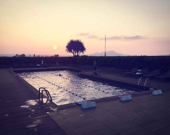Sunset photography, Large Wall Art, Taiwan Fine Art Print, Sunrise Photograph, Wall Art, Golden, Pool with Reflection