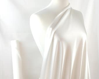 """100% Silk Fabric By the1/2 Yard 45"""", Soft White, Non-Dyed 19mm Mulberry SIlk Charmeuse"""