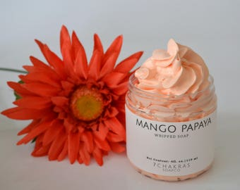 Whipped Soap, 4 oz jar, Mango Papaya, Cream Soap