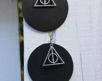 Deathly Hallows Painted Wood Earrings