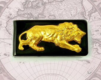 Golden Lion Money Clip Inlaid in Hand Painted Enamel Neo Victorian Leo Vintage Style Custom Colors and Personalized Options