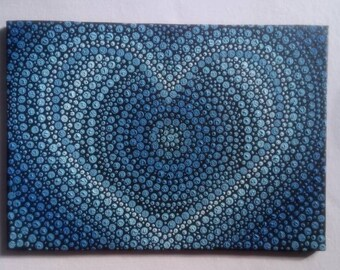 Mandala heart, Hand dotted painting