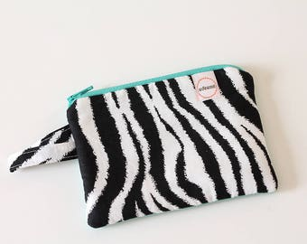 zebra zipper pouch, Minimalist pocket wallet, Change purse, cash wallet, mini zipper pouch, earbud case, wallet for mom, Teal back zipper