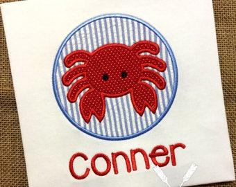 Chemise de crabe / crabe Applique / chemise d'été garçon / chemise de Seersucker / garçon crabe / enfant en bas âge de crabe / bébé crabe / personnalisé tenue d'été