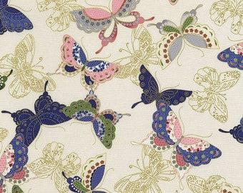 PATTERNED BUTTERFLIES - Cream Asian Japanese Fabric