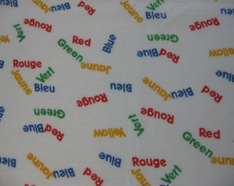 French & English Color Names Cotton Knit Fabric - 1/2 Yd.