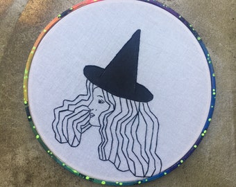 space witch  - hand drawn, painted and embroidered hoop art inspired wall hanging